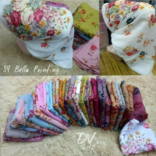 Segi Empat Bella Printing Motif Bunga Shopee Indonesia