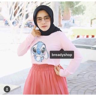 T-Shirt / Tumblr Tee / Kaos Wanita Lengan Panjang Stitch Warna Pink Salem