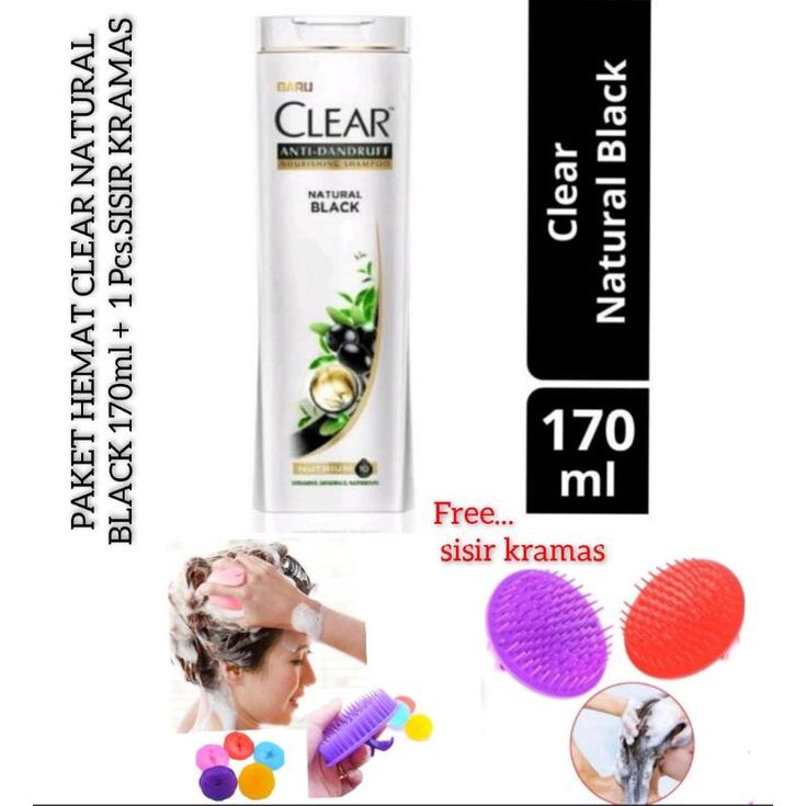 CLEAR  NATURAL BLACK ANTI DANDRUFT FREE SISIR KRAMAS 170ml