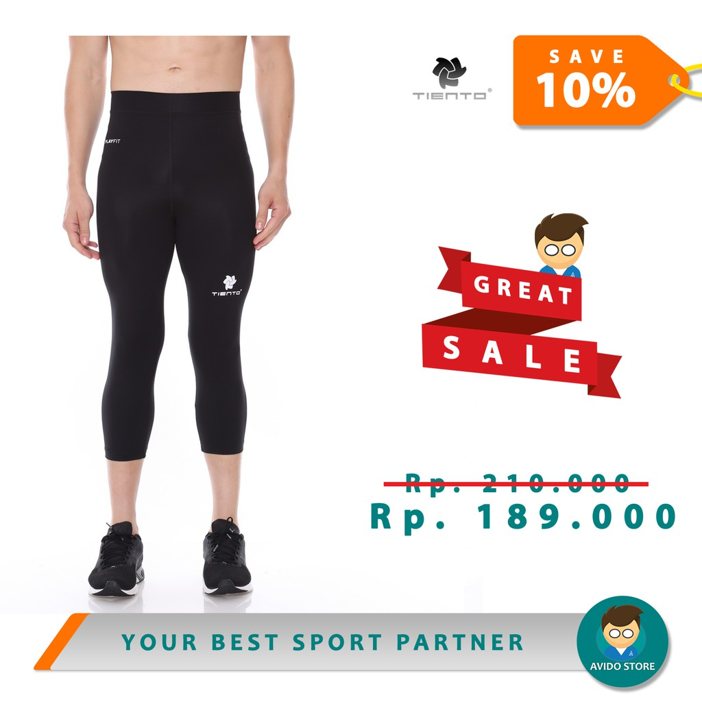 Tiento Baselayer Celana Olahraga Pria Legging Gym Leging Sport Lejing 3 4 Pants Black White Original Shopee Indonesia