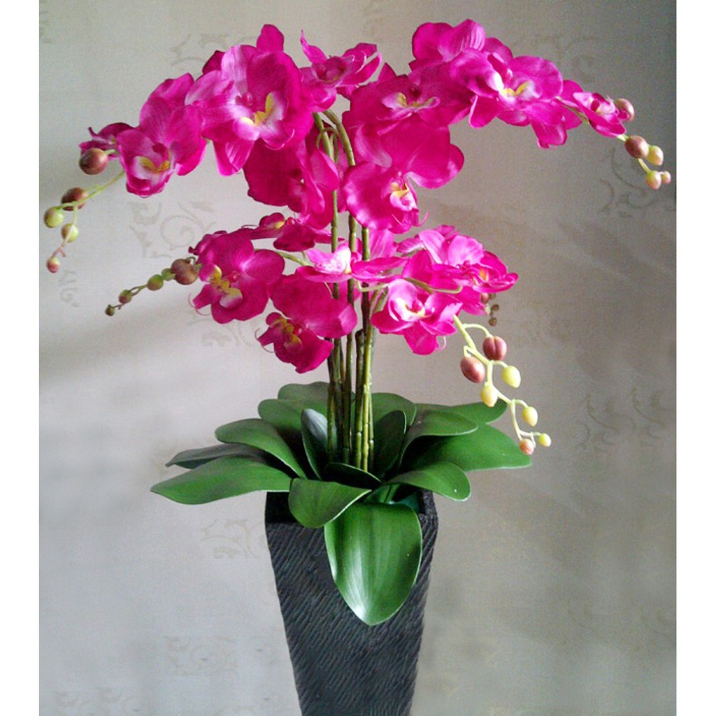 Naindo Bunga Sudut Anggrek Mekar Cantik Hiasan Sudut Rumah Dan Kantor Tinggi 140 Cm Kain Plastik Shopee Indonesia