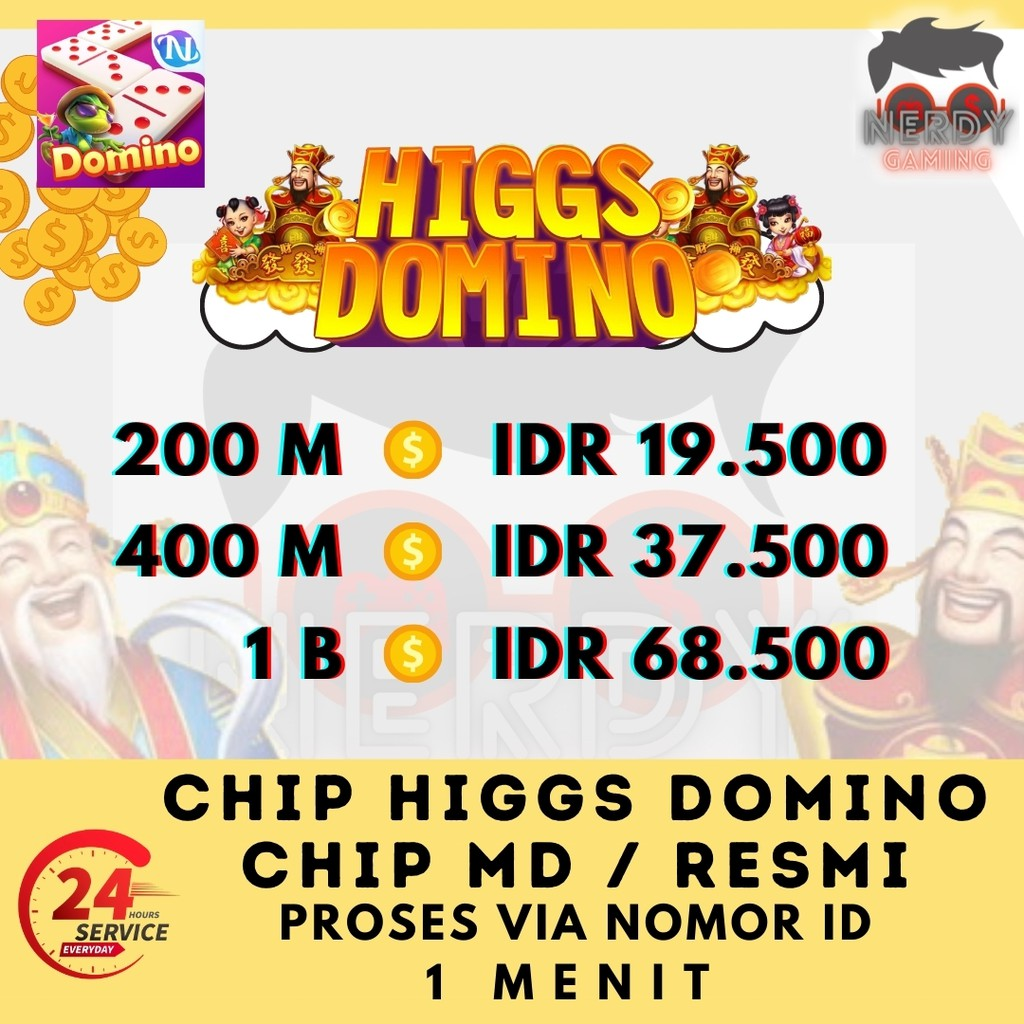 Chip Higgs Domino MD Ungu - Top Up Koin Coin Higgs Domino - Isi - Main - Semoga Jackpot -