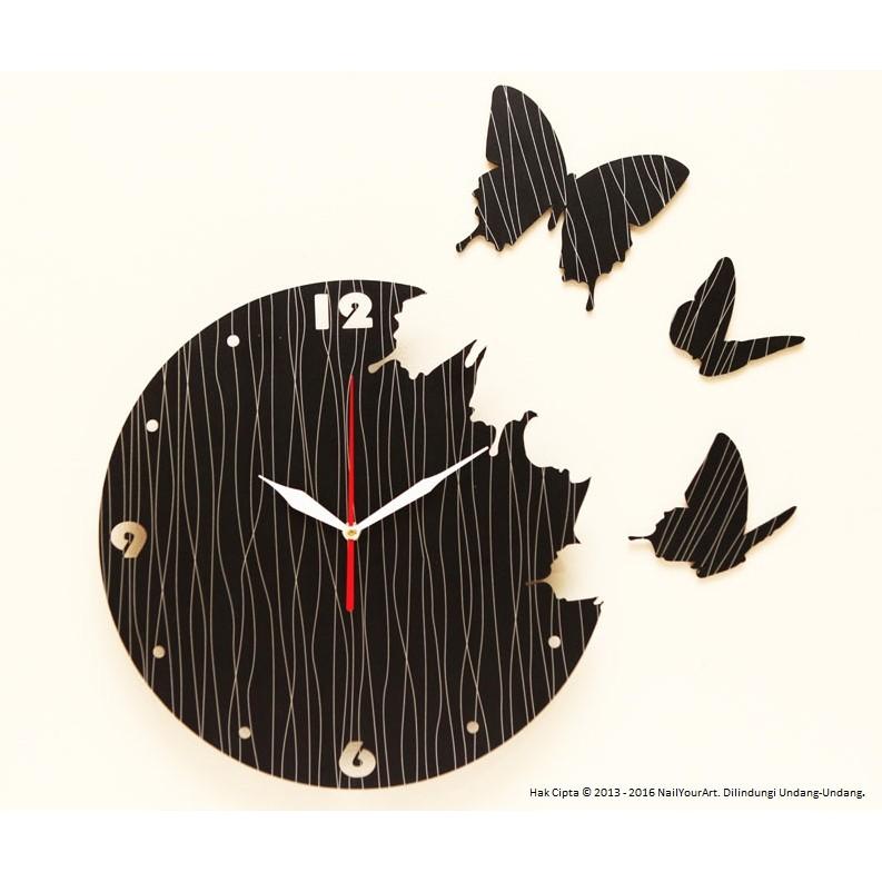 VL - NAIL YOUR ART - JAM DINDING UNIK ARTISTIK - ARTISTIC WALL CLOCK - Butterfly  Black  dbca72b34b