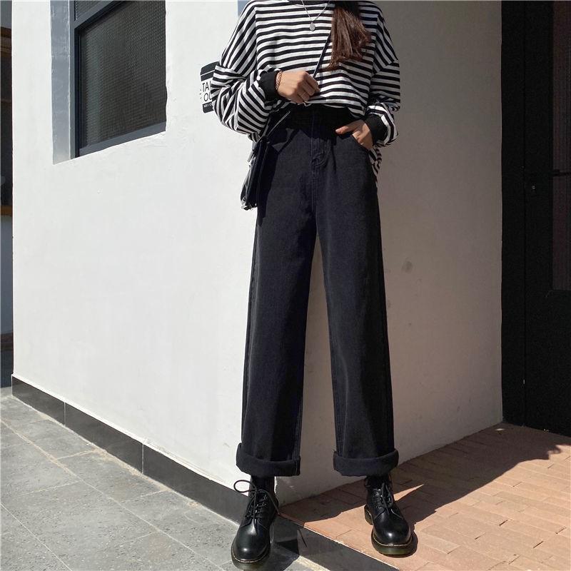 Jeans Hitam Cropped Kaki longgar
