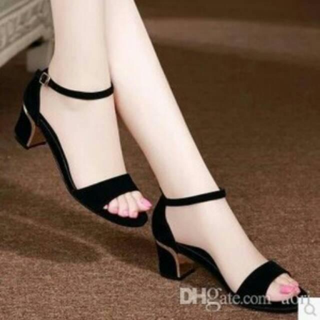 High Heels Hitam Bahan Suede Free Ongkir Shopee Indonesia