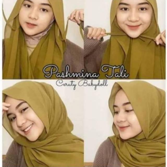 Jilbab Hijab Pashmina Instan Tali Ceruty Babydoll 175 Cm X 70 Cm Shopee Indonesia
