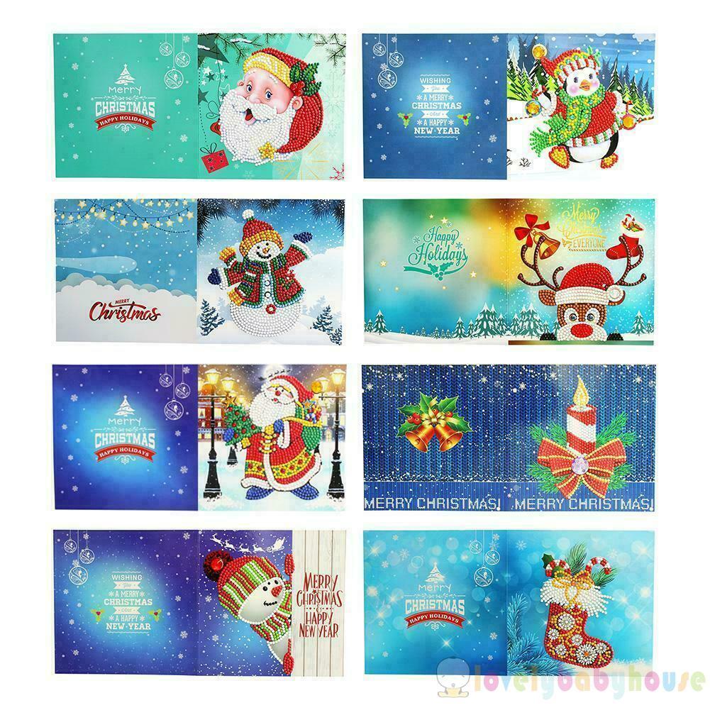 8Pcs DIY Lukisan Diamond 5D Dengan Gambar Kartu Natal Untuk Hiasan Dekorasi Rumah