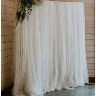 backdrop dekorasi lamaran putih rampel / wedding / nikahan