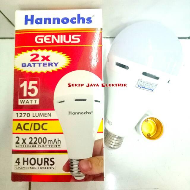 Lampu LED Emergency AC DC hannochs genius emergency 8 w 8 watt hannoch 8 w lampu emergency / darurat   Shopee Indonesia