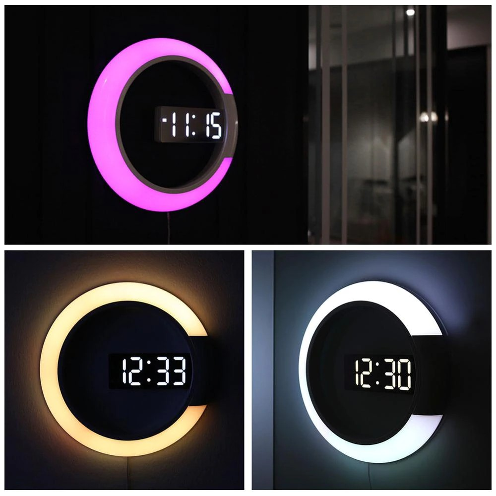 3d Led Digital Table Clock Alarm Mirror Hollow Wall Clock Modern Design Nightlight For Shopee Indonesia
