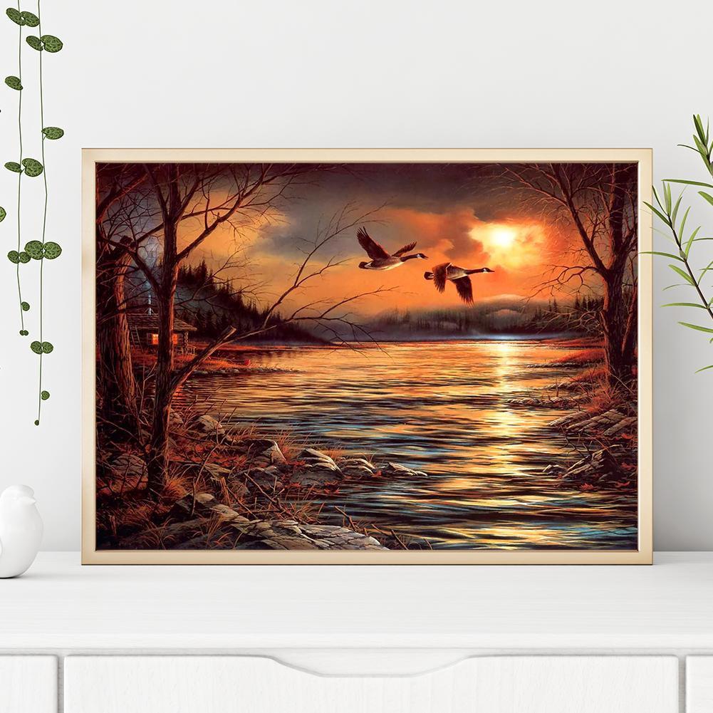 DIY Lukisan Diamond 5D Dengan Gambar Matahari Terbenam Dan Burung Untuk Hiasan Dekorasi Rumah