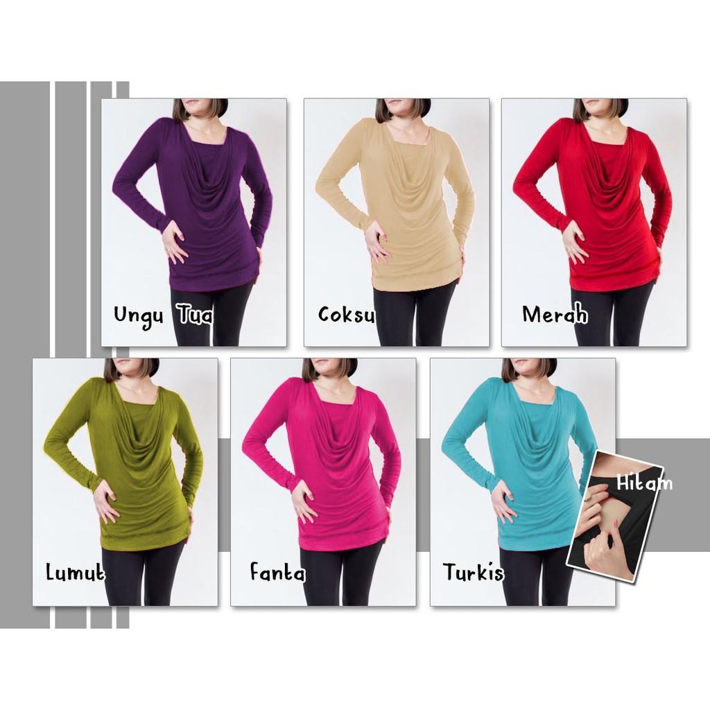 Baju Menyusui Kekinian Lengan Panjang Kaos Sania Shopee Indonesia Justmom Black Stripe Sn115