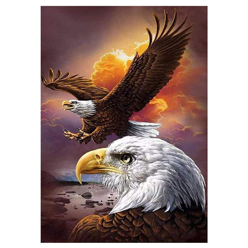 Lukisan Sulaman Berlian 5d Jahitan Bersilang Desain Burung Elang
