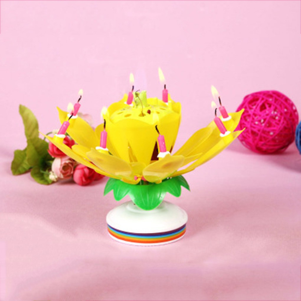 Lilin Musik dengan Gambar Bunga Lotus dan Dapat Berputar untuk Hiasan Dekorasi Pesta Ulang Tahun |