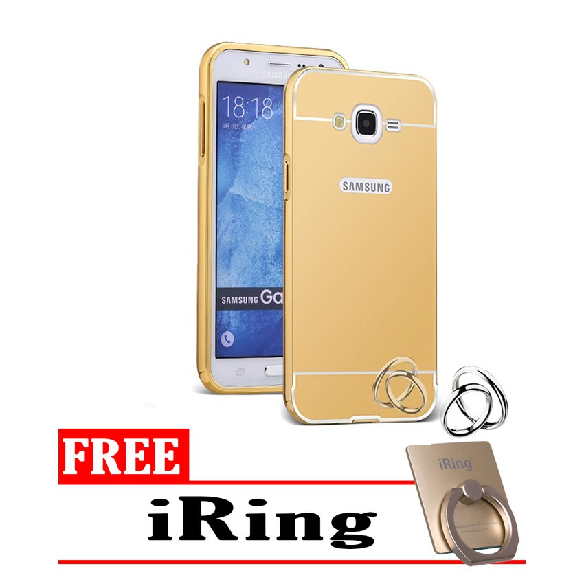 ... Black Free Tempered Glass. Source · Case Samsung Galaxy J5 Bumper Mirror Slide Gold - Free iRing | Shopee Indonesia