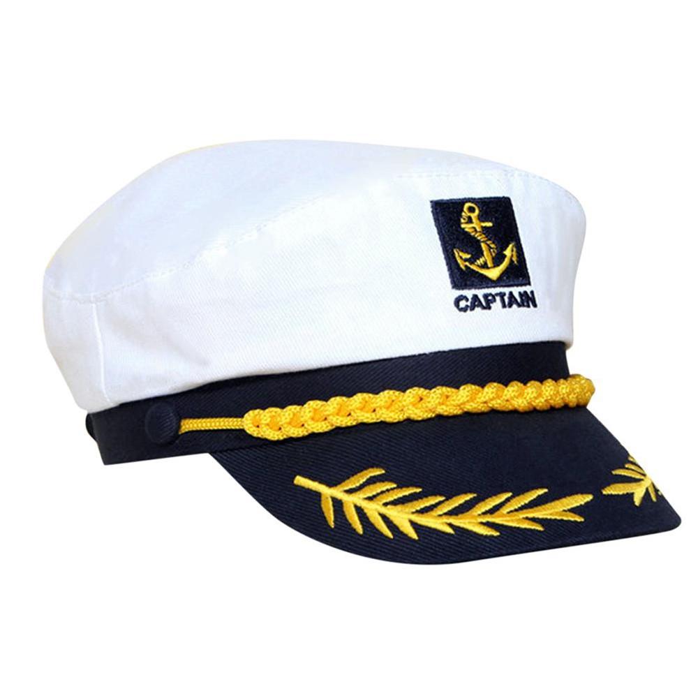 Topi Kapten Nahkoda Kapal Pesiar Warna Putih Gaya Militer Angkatan Laut Mewah Untuk Pesta