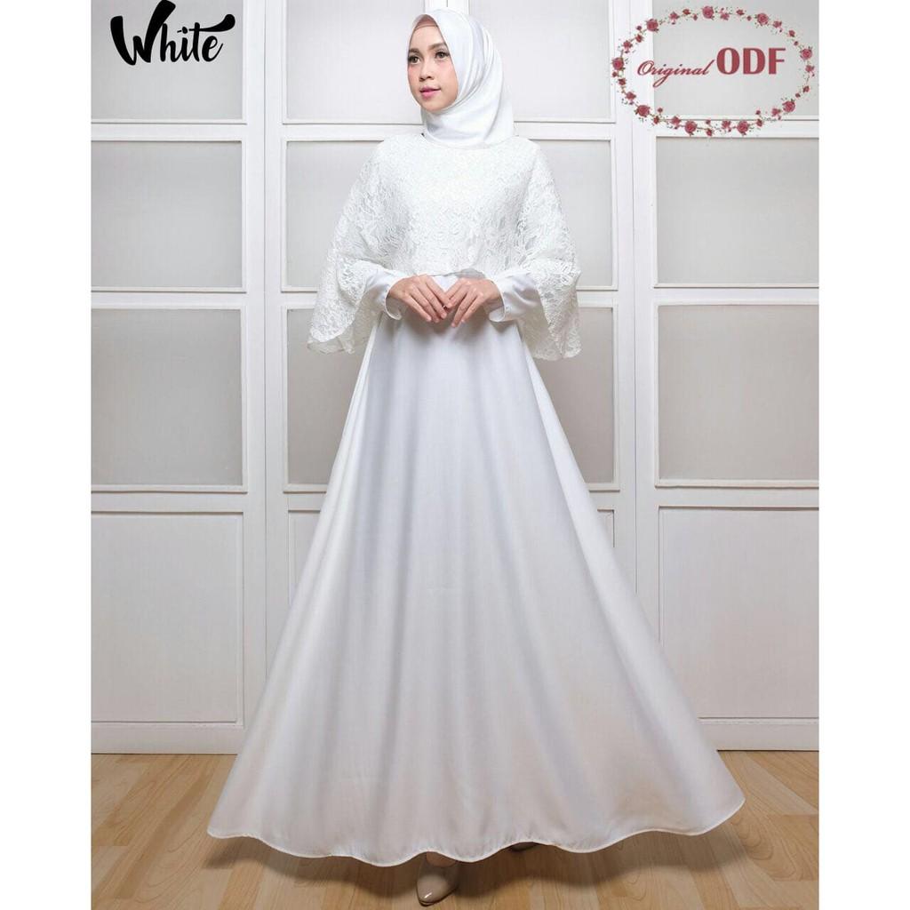 T46 Baju Gamis Akad Pernikahan Pesta Muslim Remaja Brokat Brukat Syari Modern Gina Marsya Polos Warna Putih Shopee Indonesia