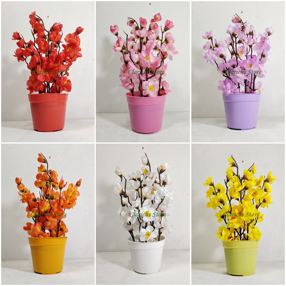 Bunga Sakura Artificial Pot Bunga Plastik Hiasan Meja Pajangan Rak Dekorasi Imlek Konyan Shopee Indonesia