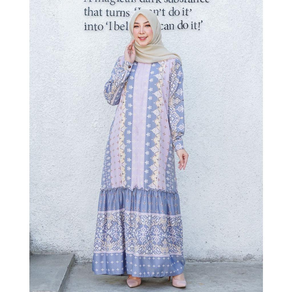 BJ Gamis Syakila Dewasa Maxi motif  Fashion Wanita Muslimah Dress Trendy