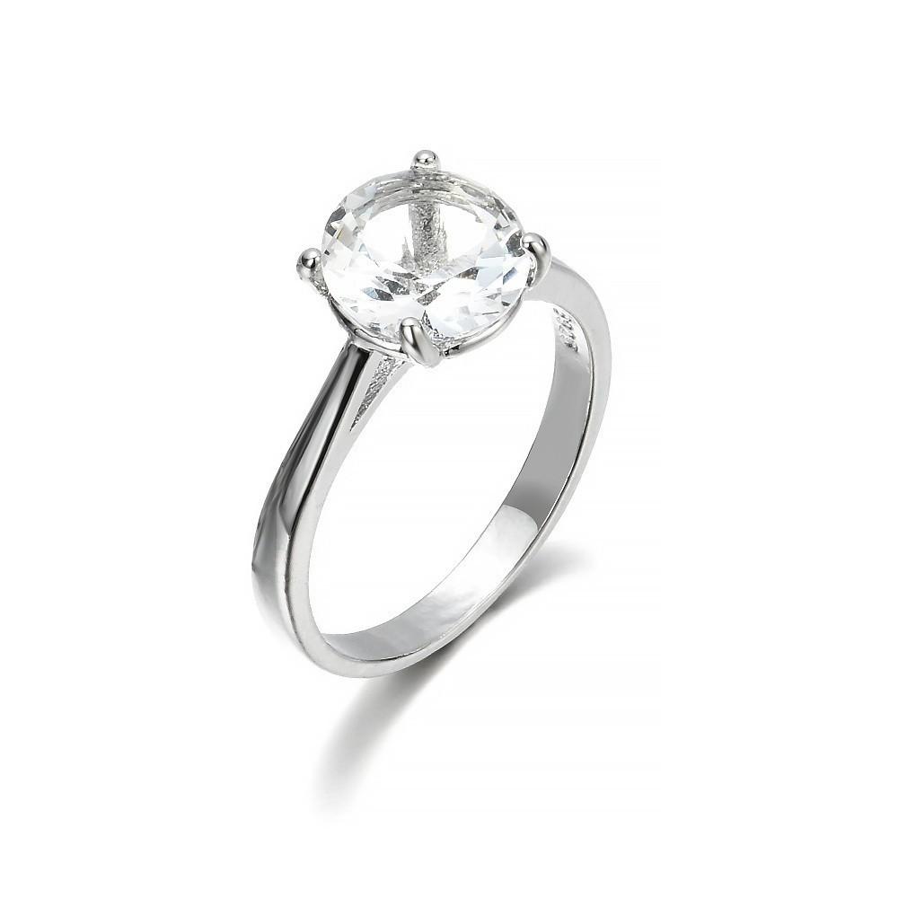 3pcs Set Cincin Kawin Berlian Pengantin Wanita Aksen Safir Putih Cantik