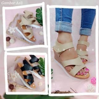 Clarisse ALICE Wedges Sepatu Wanita Opentoe Wedges Cantik Prepet Tinggi 7cm Krem Hitam .