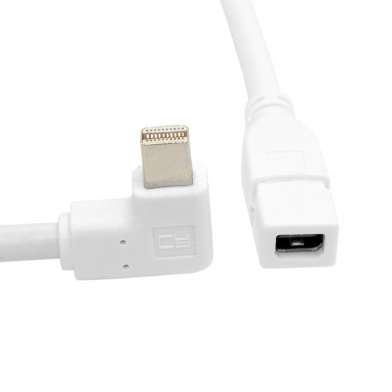 90 Degree Left Angled Type Mini DisplayPort Male to Mini Female Extension Cable
