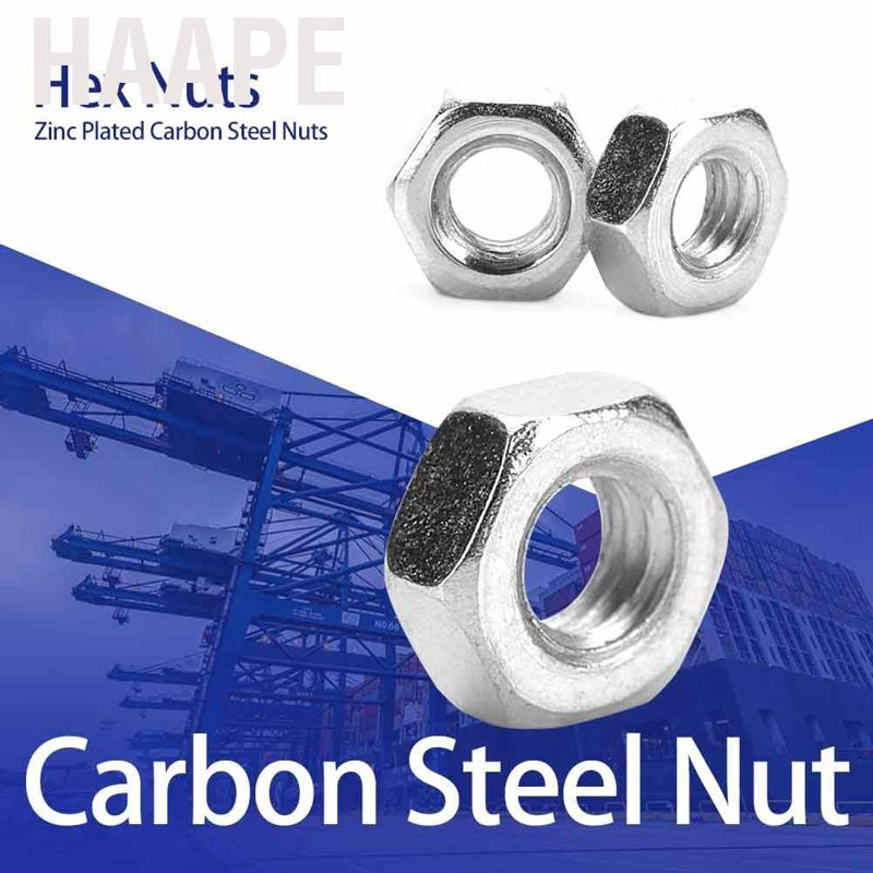 100Pcs//Set M2-M5 Metric Thread Hex Hexagonal Nuts Black Zinc Plated Carbon Steel Hex Nuts Kits for Machine Fastener M4