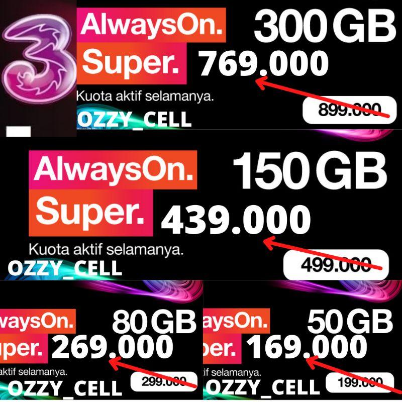 TRI UNLIMITED | VOUCHER DATA TRI AON KUOTA ANTI HANGUS | AON 300GB | AON 150GB | AON 80GB | AON 50GB | INJECT KUOTA | ISI ULANG KUOTA | Kuota Tri MURAH DAN LENGKAP