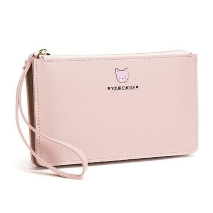 Dompet Wanita DW 01 Tas Dompet Wanita Purse Wallet Fashion Gambar Kucing Hand Bag Warna Pink Murah