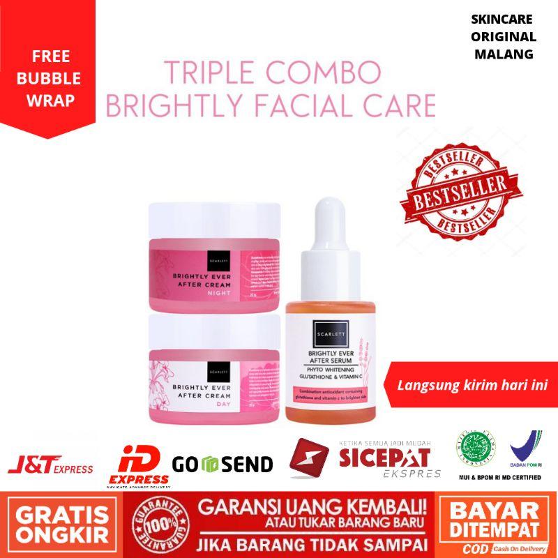 Scarlett Whitening Complete Brightly Facial Care PAKET 3in1 PERAWATAN WAJAH MENCERAKAN SCARLETT
