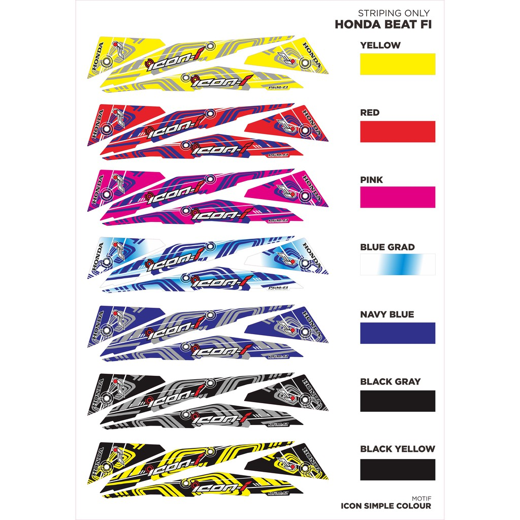 Striping fariasi motor honda beat fi motif icon simple shopee indonesia