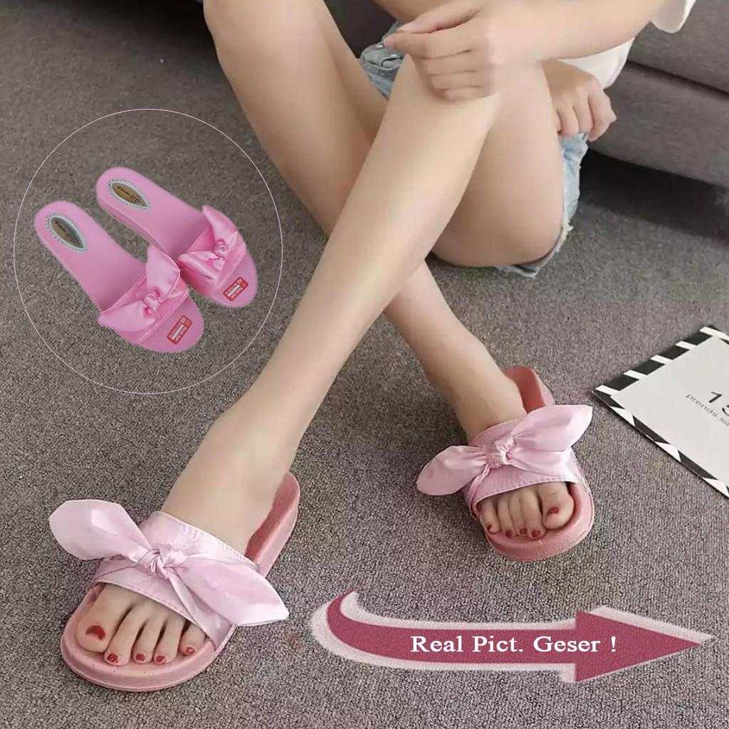 Sandal Wanita Terbaru Slop Bulu Pg1816 Shopee Indonesia Turedo Jepit Manik