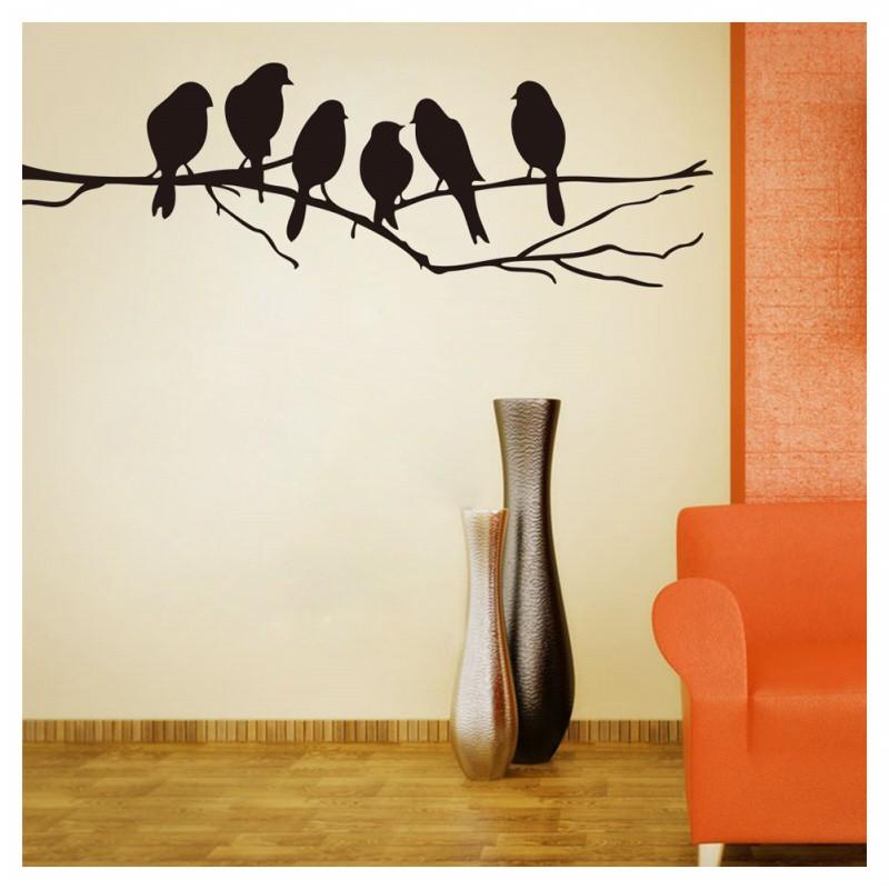 Stiker Dinding Mural Desain Burung Warna Hitam Untuk Dekorasi Kamar Tidur