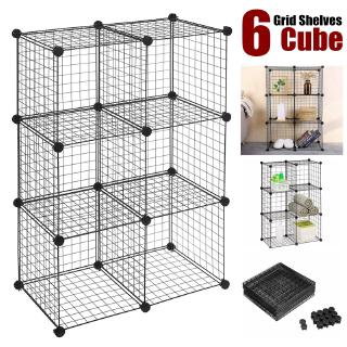 6 Cube Wire Shelves Storage Cabinet Diy Metal Stackable Shelf Book Clothes Toys