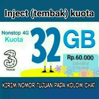 Paket Kuota Data 3 | Tri  32GB 2GB 3G/4G + 30GB 4G