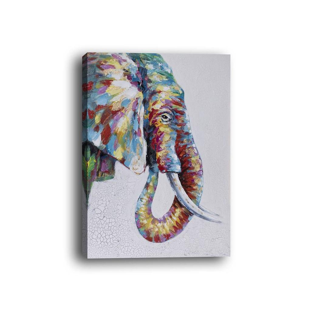 1pc Lukisan Dengan Bahan Kanvas Dan Gambar Gajah Bergaya Modern