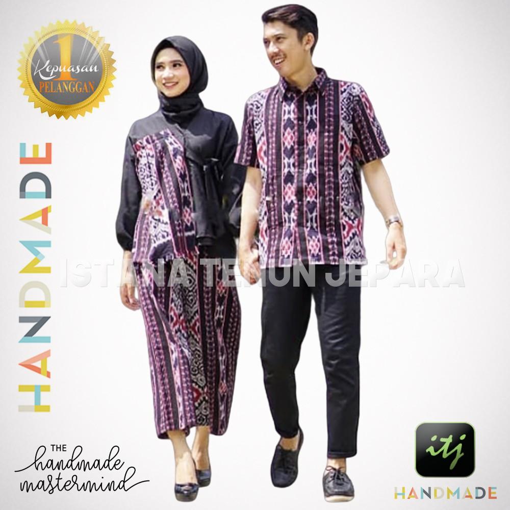 Batik Couple Sarimbit Batik Keluarga Couple Tenun Troso Handmade Kombinasi Shopee Indonesia