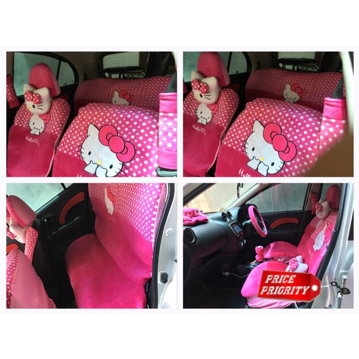 Car Set / Sarung Jok Hello Kitty 24 in 1 Bantal Mobil 24in1 HK - Merah/Putih Polkadot (3 Baris) | Shopee Indonesia