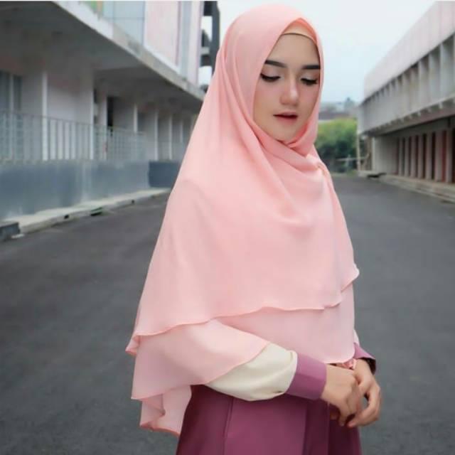 Khimar 2 Layer Non Pad Jilbab 2 Layer Non Pad Shopee Indonesia