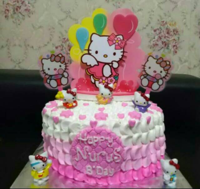 Kue Ulang Tahun Homemade Lingkaran Littlepony Hello Kitty