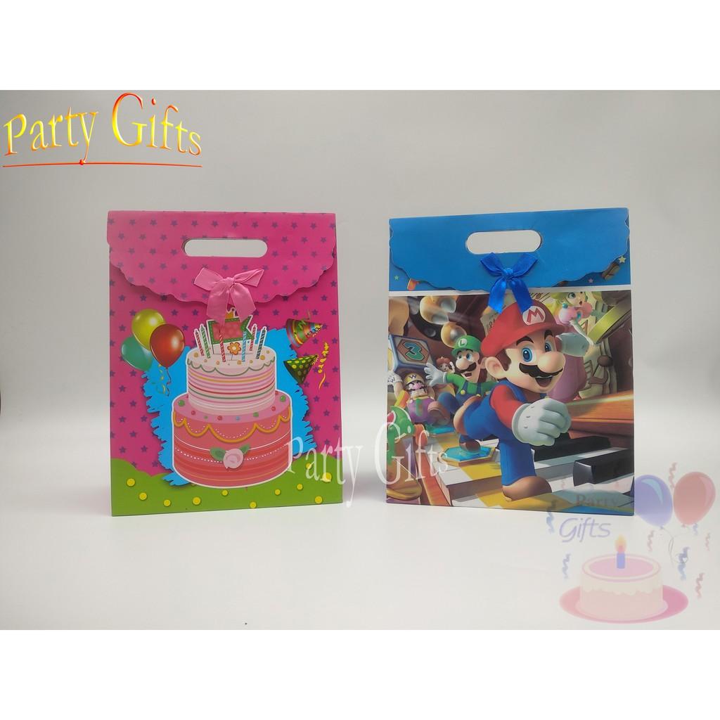 Paper Bag Tas Kertas T Box Kotak Kado Unik Gambar Kartun Mario Kue Ulang Tahun Birthday M L