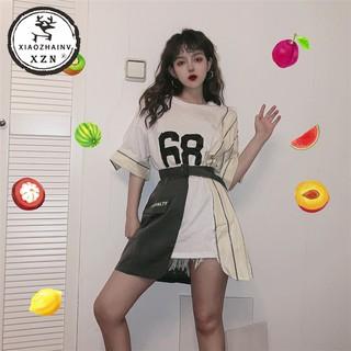 Xiaozhainv Baju Wanita Stripe Irregular Print Baju Lengan Pendek Casual Dress (kirim sabuk)