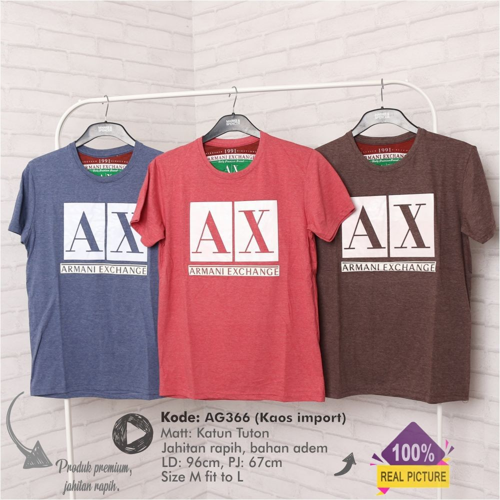 Kaos t-shirt shirt dewasa laki laki merk Armani Exchange sisa eksport  c2f33dd676