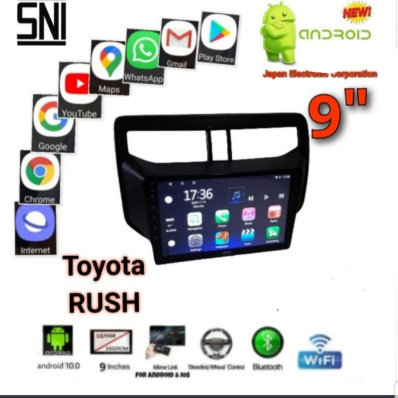 """double din android 9"""" ram 2 gb/16 gb oem mobil all new rush 2018"""