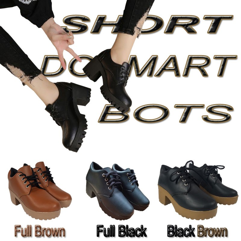 Sepatu Boots Kulit Sintetis Wanita   Boot Cewek Casual korea Kerja Formal  Pendek BD02  65fdbb4233