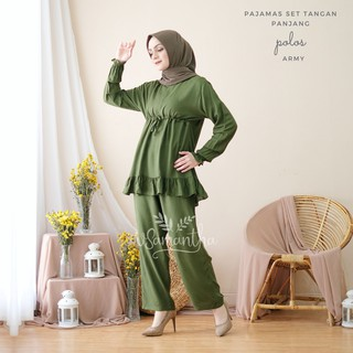 vSamantha - Pajamas Set / Piyama Set Rayon Polos Rempel Busui Friendly - Tangan Panjang