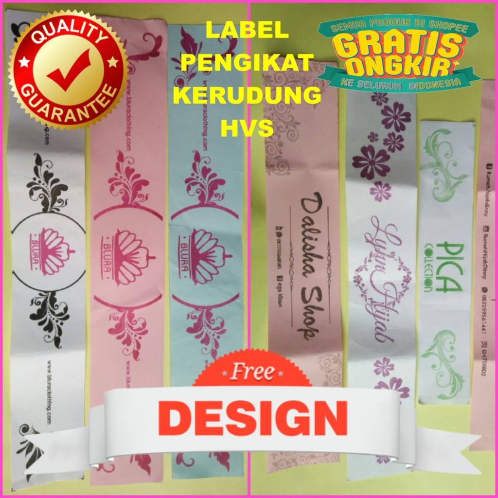 Label Pengikat Kerudung HVS 12 pcs - Gratis Desain