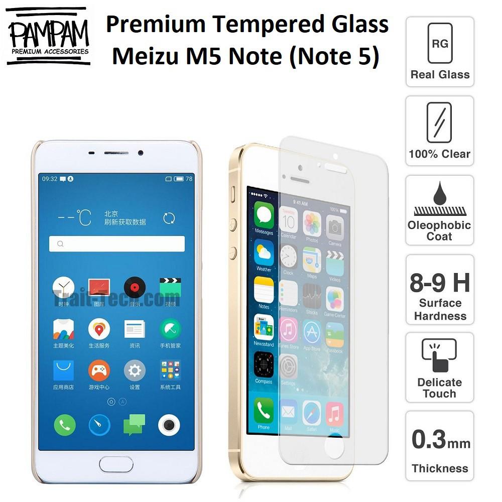 Premium Tempered Glass Meizu M5 Note 5 HP Anti Gores Layar Screen Guard Protector Tempred Ori