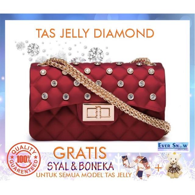 Tas jelly matte wanita 22cm free syal boneka  835378a370