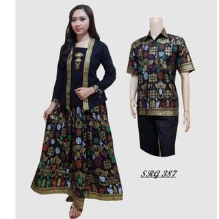 Baju  couple batik sarimbit gamis pakaian pesta  pasangan